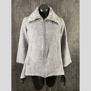 For Cynthia Lagenlook Embroidered Wool Jacket Gray